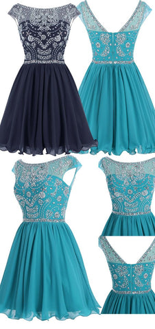 Tulle Short Homecoming Dress, Elegant Beaded Prom Dress,6509