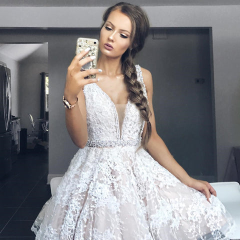 Plus Size Lace Mini Prom Dresses Knee Length Girls Cocktail Dress Plus Size Lace Graduation Dress,6510
