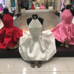 White Satin Homecoming Dresses,Red Hater Neckline Mini Graduation Dresses,Two Piece Cut Back Short Prom Dresses,6511