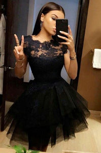 Short Homecoming Dress,Tulle Short Prom Dress,Black Prom Party Dresses,Black Tulle Prom Dress, On Sale,6518