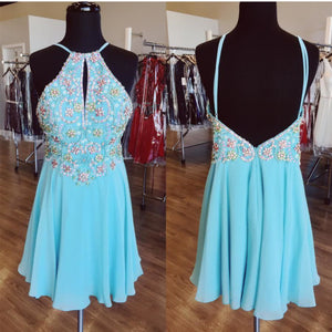 A Line Beaded Chiffon Prom Homecoming Dresses Short Homecoming Dress,6556