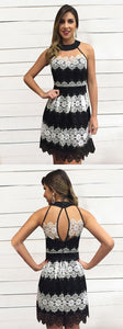 Open Back Black Homecoming Dress, Short Prom Dress with White Lace, Round Neck Party Dress,6563