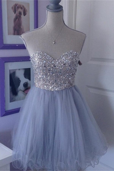 Baby Blue Short Sweetheart Homecoming Dresses,Classy Homecoming Dress,6569