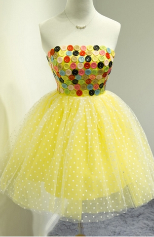 Yellow A-Line Strapless Button Short Homecoming Dress,6575