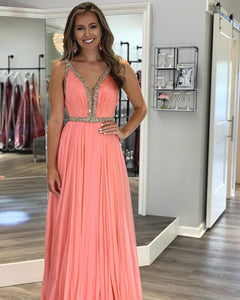 Charming A Line Deep V Neck Orange Long Prom/Evening Dress with Beading,9603