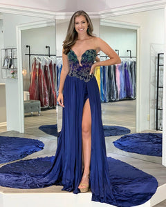Glamorous A Line Sweetheart Navy Blue Long Prom/Evening Dress with Beading,9610