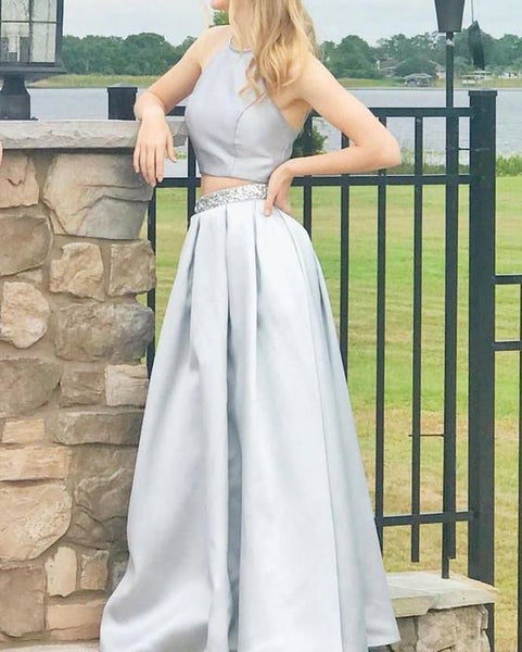 Gray Prom Dress,A-line Prom Gown,Two Pieces Prom Dress,9613