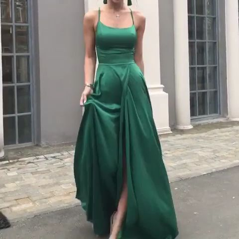 long green prom dress lace up back evening gowns,9616