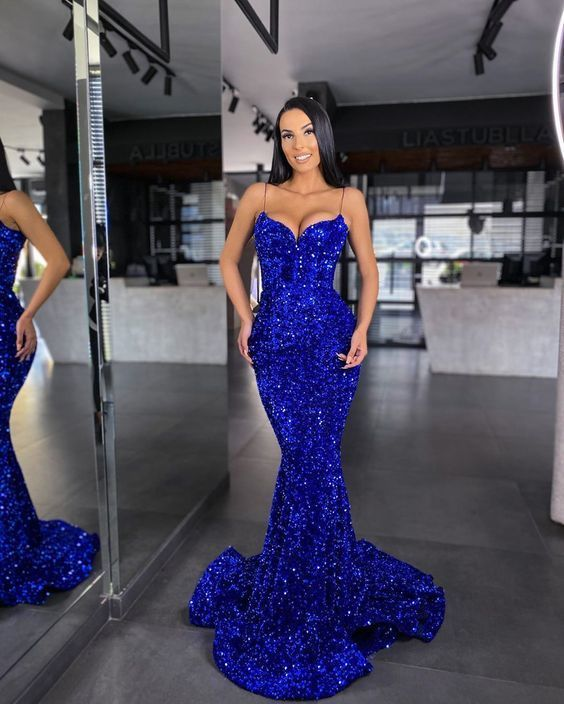gorgoues blue sequin long mermaid prom gown,9624