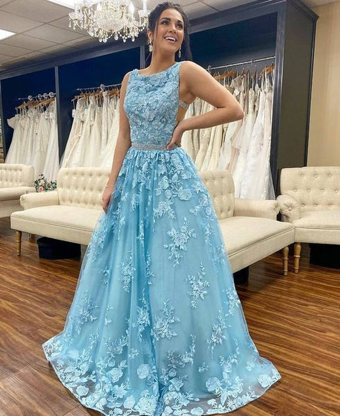 gorgoues blue long evening prom gown,9625