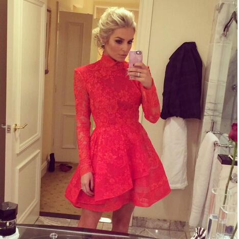 New Winter Red Lace Homecoming Dresses High Neck Long Sleeve Chinese Style Mini Short Prom Gowns Zip Back Custom Made,9631