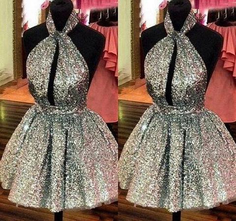 Sexy Halter Backless Short Homecoming Dresses Gliter Gold Sequins Puffy Ball Gowns Prom Party Gowns Cheap Real Dress For Graduation,9632