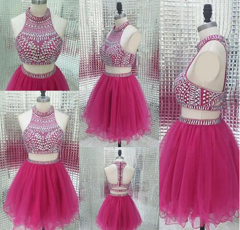 Sparkly Two Piece Homecoming Dresses Vintage Fuchsia Beading Short Sweet Sixteen Juniors Ball Gowns Cheap Party Weddings Guest Dress,9633