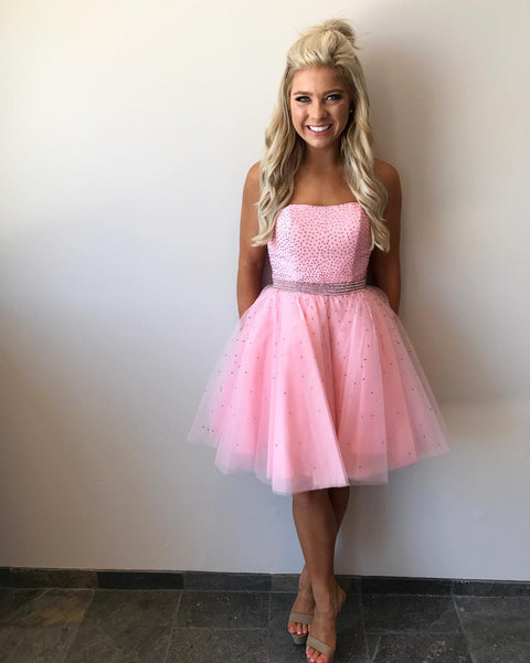 Chic Beaded Strapless Short Prom Homecoming Dresses Pink Tulle.9643
