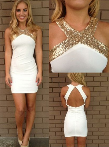 White Sheath Column Silk-like Satin Homecoming Dress,Sexy Scoop Neck Sequins Backless Prom Dress,9663