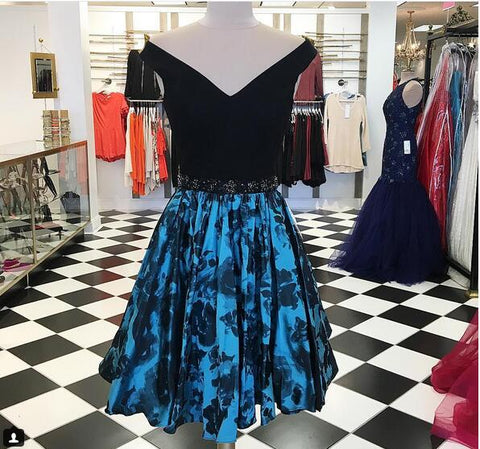 Floral Print Ball Gown Homecoming Dresses 2018 V Neck Mini Short Cocktail Dresses Party Gowns,9664