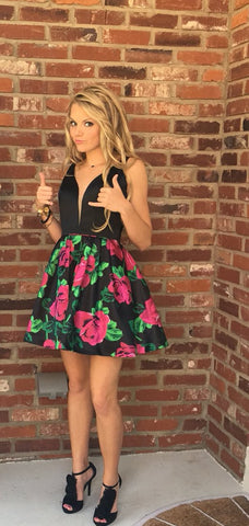 A Line Homecoming Dresses 2020 Deep V Neck Sleeveless Floral Print Cocktail Dresses Party Gowns Vestidos,9670