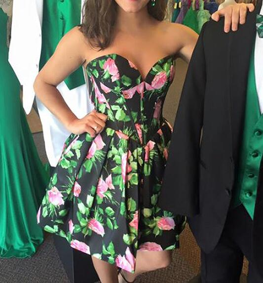 Floral Homecoming Dresses, Satin Homecoming Dresses,Sweetheart Homecoming Dresses, Party Dress,9682