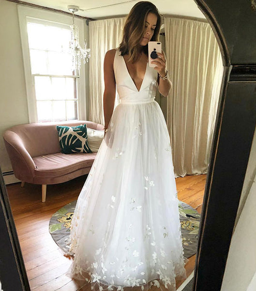 White v neck tulle long prom dress, white formal dress,9718