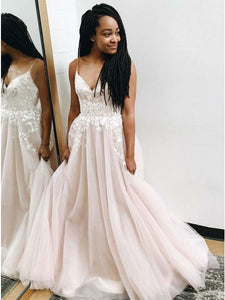 Dignified V-neck Pearl Pink Sleeveless Prom Dress with Appliques,9772