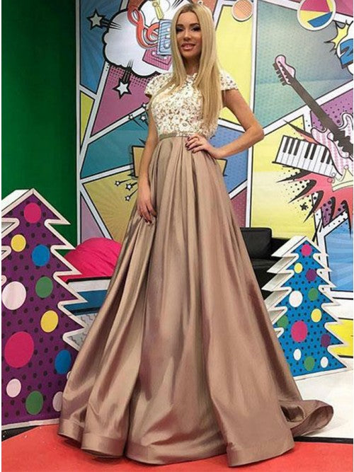 Delicate Brown Cap Sleeves Prom Dress with Appliques,9773
