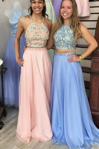 Two Piece Halter Floral Long Prom Dress with Crop Top ,9809