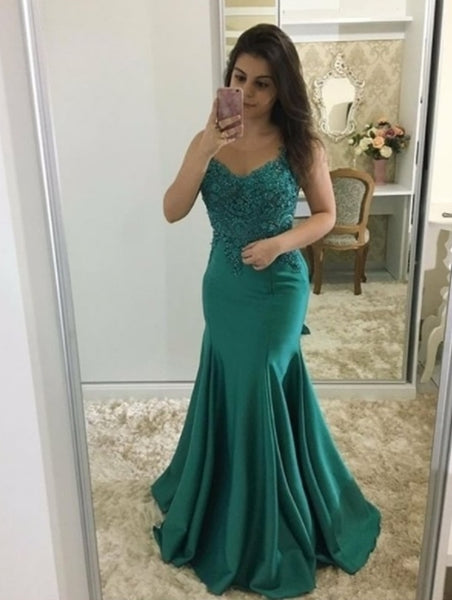 Green Lace Prom Dresses with Appliques,9824
