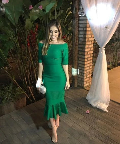 Off the shoulder green prom dress,9867