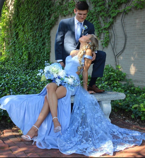 off the shoulder blue long prom dress prom couples,9943