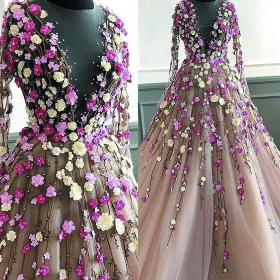 Champagne Tulle 3D Flower Lace Applique Long Senior Prom Dress With Long Sleeve,9961