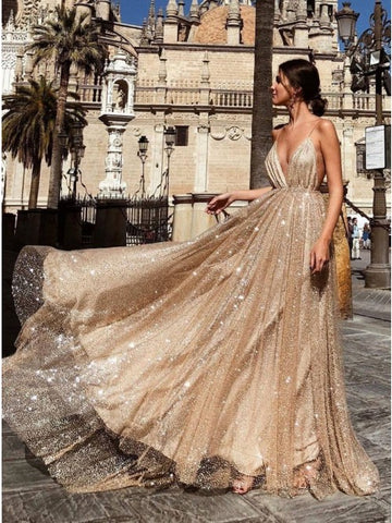 Spaghetti Straps Backless Prom Dress with Sequins Light Champagne Long Evening Dress,AE025