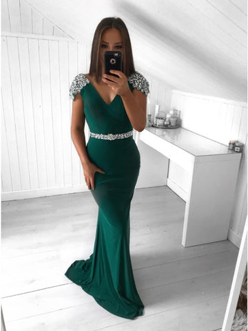 Mermaid V-Neck Cap Sleeves Long Dark Green Prom Evening Dress with Beading,AE028