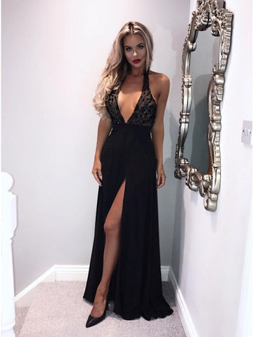 A-Line Halter Backless Long Split Prom Dress Black Appliqued Evening Dress,AE029
