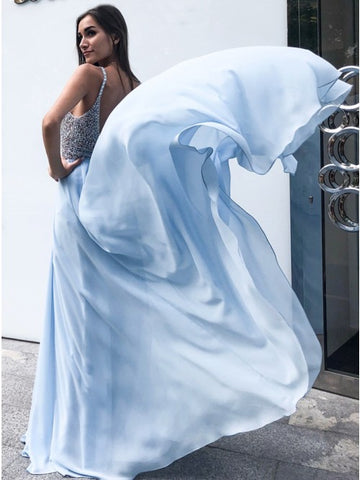 A-Line Spaghetti Straps Backless Floor-Length Light Blue Beaded Chiffon Prom Dress,AE030
