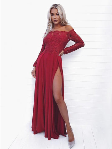 A-Line Off-the-Shoulder Long Sleeves Dark Red Split Long Prom Dress with Lace,AE034