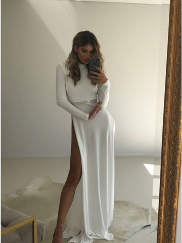 A-Line High Neck Long Sleeves Open Back White Long Split Prom Dress with Sequins,AE036