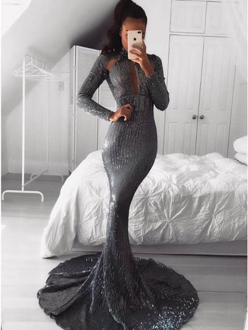 Mermaid High Neck Long Cut Out Prom Dress Grey Sequined Long Sleeves Evening Dress,AE038