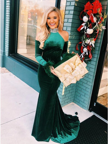 Mermaid High Neck Cold Shoulder Long Dark Green Velvet Prom Dress with Beading Feathers,AE039