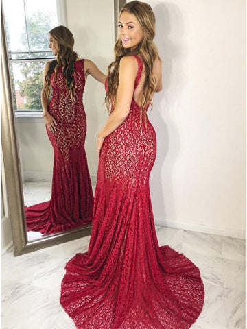 Mermaid Bateau Backless Sweep Train Burgundy Lace Prom Dress,AE042