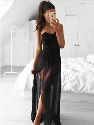 Sheath Sweetheart Floor-Length Black Chiffon Prom Dress with Beading Split,AE044