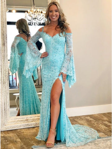 Mermaid Off-the-Shoulder Bell Sleeves Light Blue Lace Prom Dress with Split,AE045