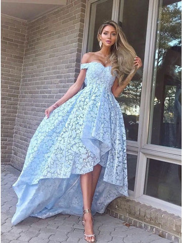 A-Line Off-the-Shoulder Hi-Low Light Blue Lace Prom Dress,AE048