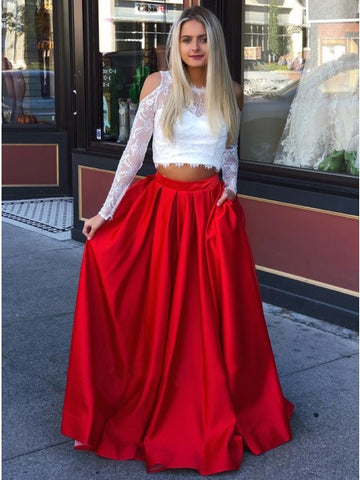 Two Piece Crew Long Sleeves Cold Shoulder Red Long Prom Dress with Lace Pockets,AE049