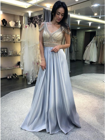 A-Line V-Neck Cold Shoulder Sweep Train Light Blue Prom Dress with Beading,AE053