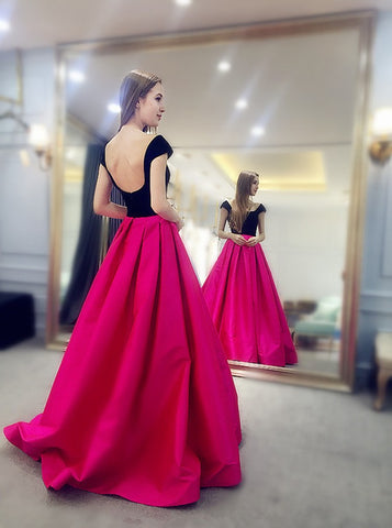 A-Line Square Cap Sleeves Backless Sweep Train Fuchsia Prom Dress,AE054