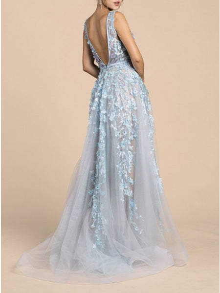A-Line V-Neck Backless Sweep Train Light Blue Prom Dress with Appliques Beading,AE055