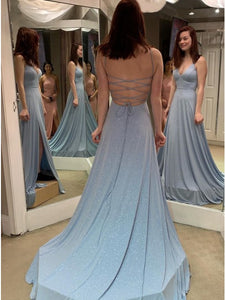 A-Line V-Neck Lace Up Sweep Train Light Blue Prom Dress with Sequins,AE056
