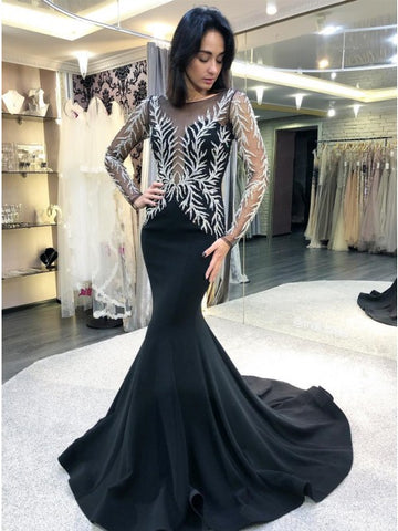 Mermaid Bateau Long Sleeves Sweep Train Black Prom Dress with Appliques,AE057