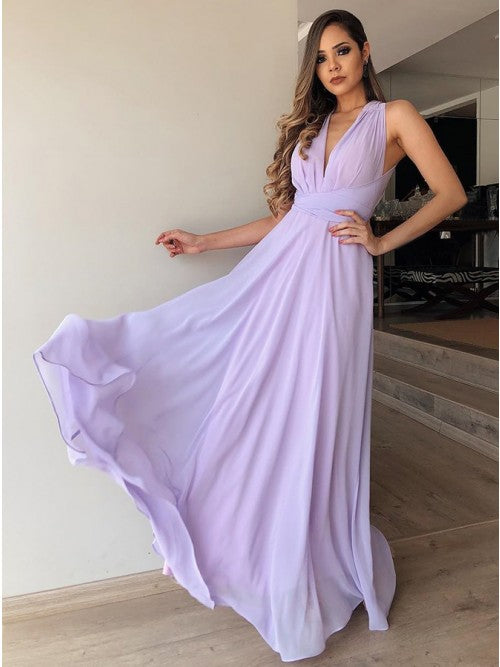 A-Line V-Neck Floor-Length Lilac Chiffon Prom Bridesmaid Dress,AE058