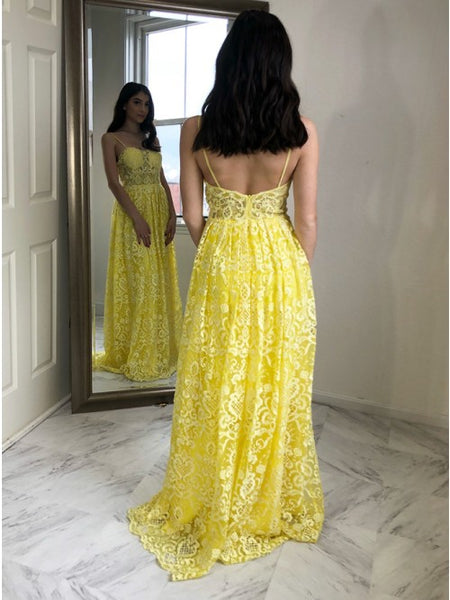 A-Line Spaghetti Straps Floor-Length Yellow Lace Prom Dress,AE060